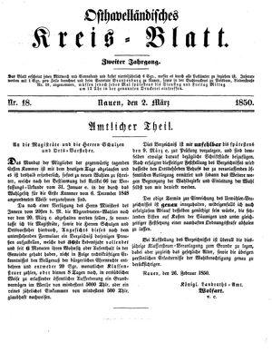 Osthavelländisches Kreisblatt vom 02.03.1850