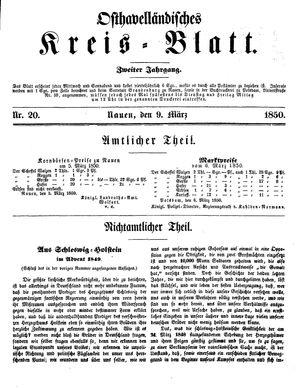 Osthavelländisches Kreisblatt vom 09.03.1850