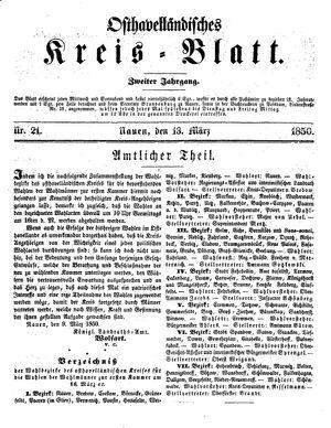 Osthavelländisches Kreisblatt vom 13.03.1850
