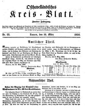 Osthavelländisches Kreisblatt vom 16.03.1850