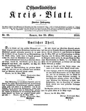 Osthavelländisches Kreisblatt on Mar 20, 1850