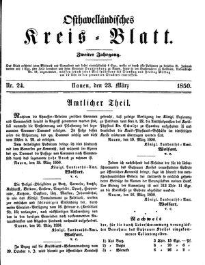 Osthavelländisches Kreisblatt vom 23.03.1850