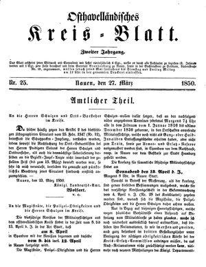 Osthavelländisches Kreisblatt vom 27.03.1850