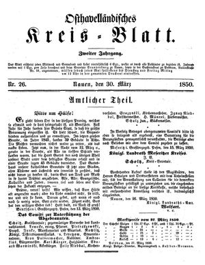 Osthavelländisches Kreisblatt on Mar 30, 1850