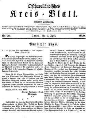 Osthavelländisches Kreisblatt vom 06.04.1850