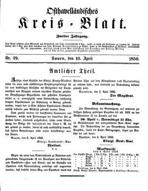 Osthavelländisches Kreisblatt on Apr 10, 1850