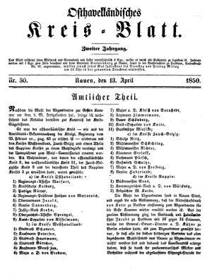 Osthavelländisches Kreisblatt vom 13.04.1850