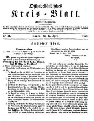 Osthavelländisches Kreisblatt vom 17.04.1850
