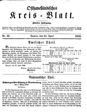 Osthavelländisches Kreisblatt vom 24.04.1850