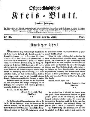 Osthavelländisches Kreisblatt vom 27.04.1850