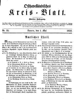 Osthavelländisches Kreisblatt on May 1, 1850