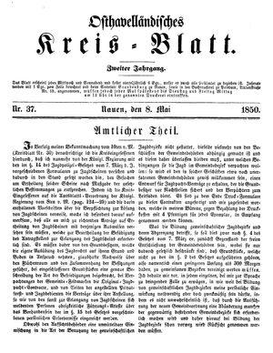 Osthavelländisches Kreisblatt on May 8, 1850