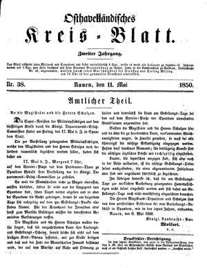 Osthavelländisches Kreisblatt vom 11.05.1850