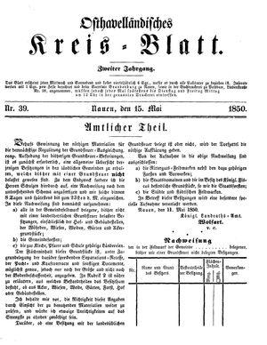 Osthavelländisches Kreisblatt vom 15.05.1850