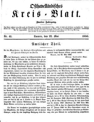 Osthavelländisches Kreisblatt vom 22.05.1850