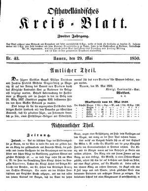 Osthavelländisches Kreisblatt vom 29.05.1850