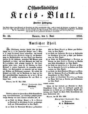 Osthavelländisches Kreisblatt vom 01.06.1850