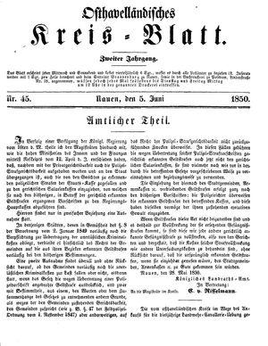 Osthavelländisches Kreisblatt vom 05.06.1850