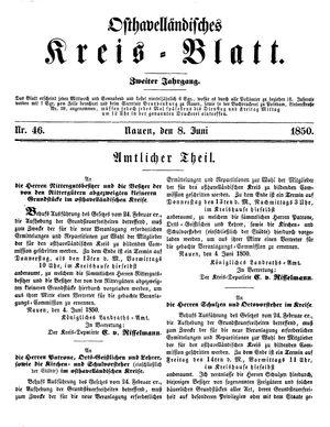 Osthavelländisches Kreisblatt vom 08.06.1850
