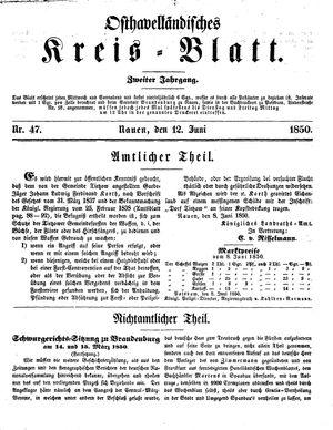 Osthavelländisches Kreisblatt vom 12.06.1850