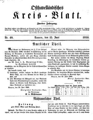 Osthavelländisches Kreisblatt vom 15.06.1850