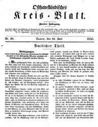 Osthavelländisches Kreisblatt (19.06.1850)