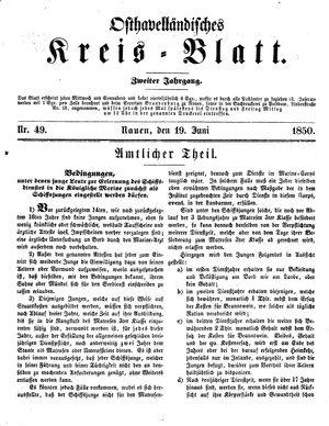 Osthavelländisches Kreisblatt vom 19.06.1850