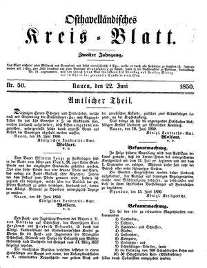Osthavelländisches Kreisblatt vom 22.06.1850