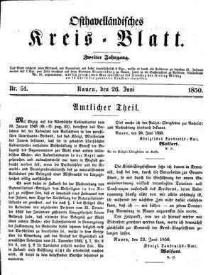 Osthavelländisches Kreisblatt on Jun 26, 1850