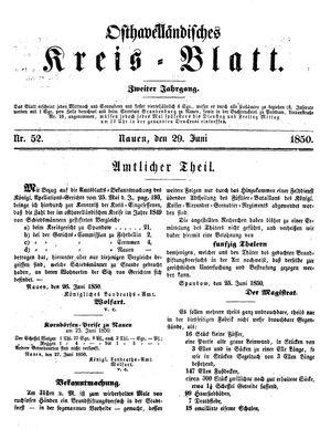 Osthavelländisches Kreisblatt vom 29.06.1850