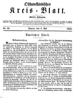 Osthavelländisches Kreisblatt vom 03.07.1850