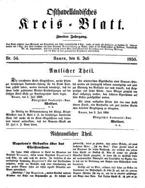 Osthavelländisches Kreisblatt vom 06.07.1850