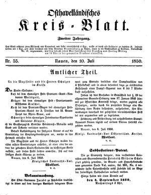 Osthavelländisches Kreisblatt vom 10.07.1850