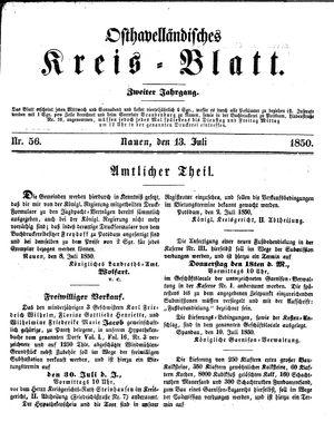 Osthavelländisches Kreisblatt vom 13.07.1850