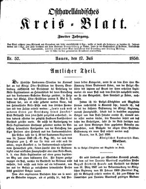 Osthavelländisches Kreisblatt vom 17.07.1850