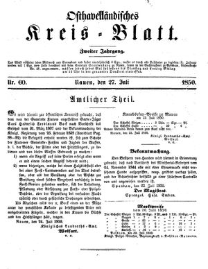 Osthavelländisches Kreisblatt on Jul 27, 1850