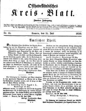 Osthavelländisches Kreisblatt vom 31.07.1850