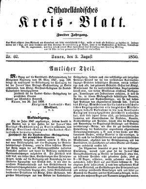 Osthavelländisches Kreisblatt vom 03.08.1850