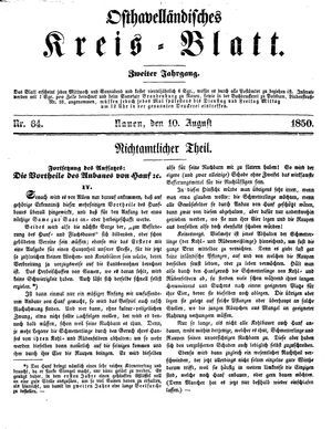 Osthavelländisches Kreisblatt vom 10.08.1850