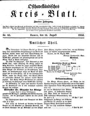 Osthavelländisches Kreisblatt vom 14.08.1850