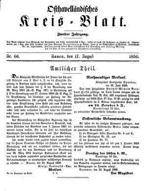 Osthavelländisches Kreisblatt vom 17.08.1850