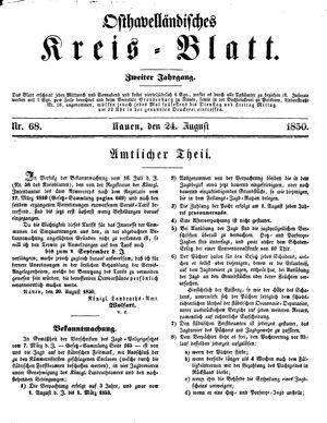Osthavelländisches Kreisblatt vom 24.08.1850