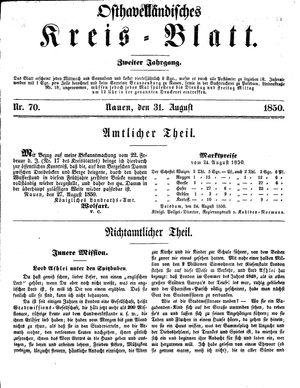 Osthavelländisches Kreisblatt vom 31.08.1850