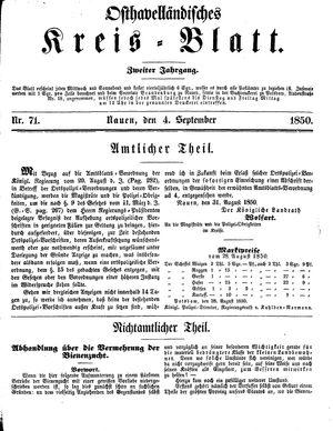 Osthavelländisches Kreisblatt vom 01.09.1850