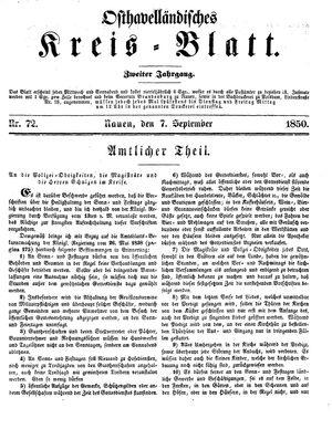 Osthavelländisches Kreisblatt on Sep 7, 1850