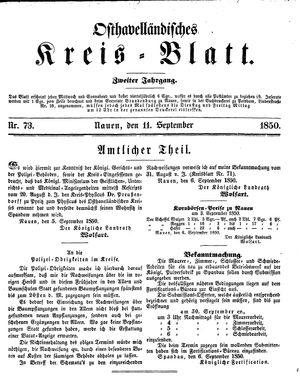 Osthavelländisches Kreisblatt vom 11.09.1850