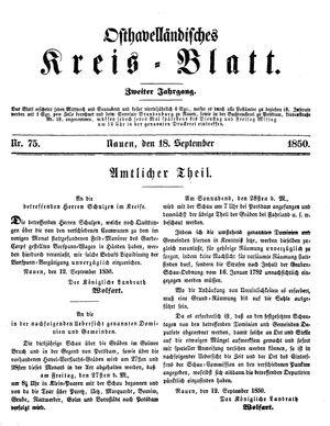 Osthavelländisches Kreisblatt vom 18.09.1850