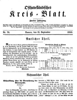 Osthavelländisches Kreisblatt vom 21.09.1850