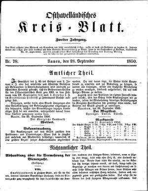 Osthavelländisches Kreisblatt vom 28.09.1850