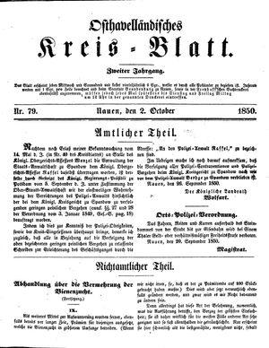 Osthavelländisches Kreisblatt vom 02.10.1850